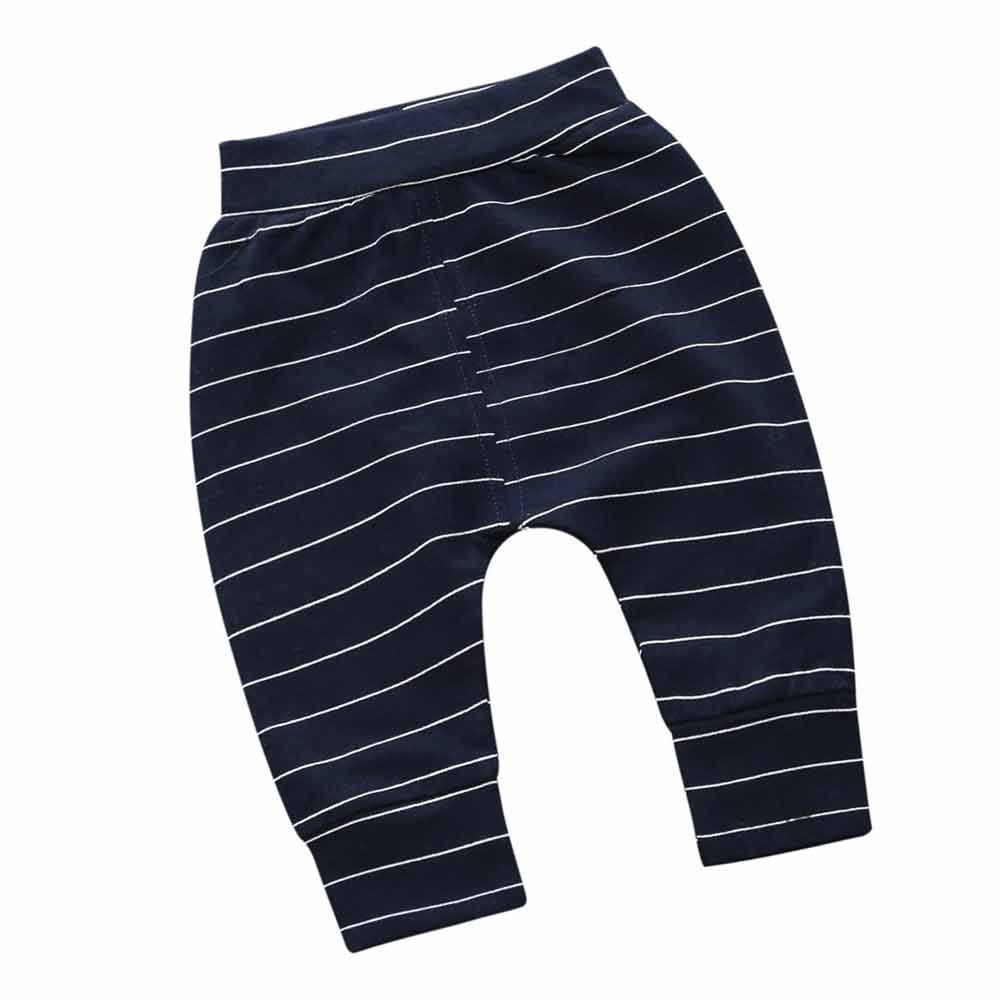 Little Baby Boys Girls Striped Long Casual Trousers Elastic Ankle Pants