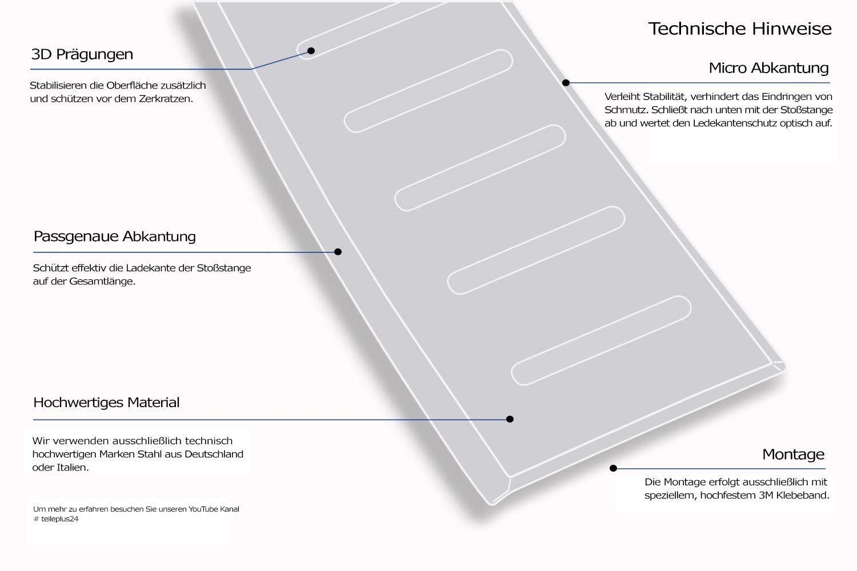 Farbe Edelstahl:Silber geb/ürstet teileplus24 L623 Ladekantenschutz aus V2A Edelstahl mit Abkantung