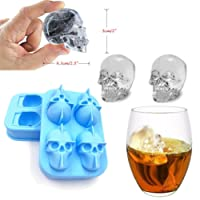 HKFV Magical Marvellous Pattern Design AK47 Bullet Ice Cube Skull Shape 3D Ice Cube Mold Maker Bar Party Silicone Trays Chocolate Mold Gift New Color Coming Ice Bucket New