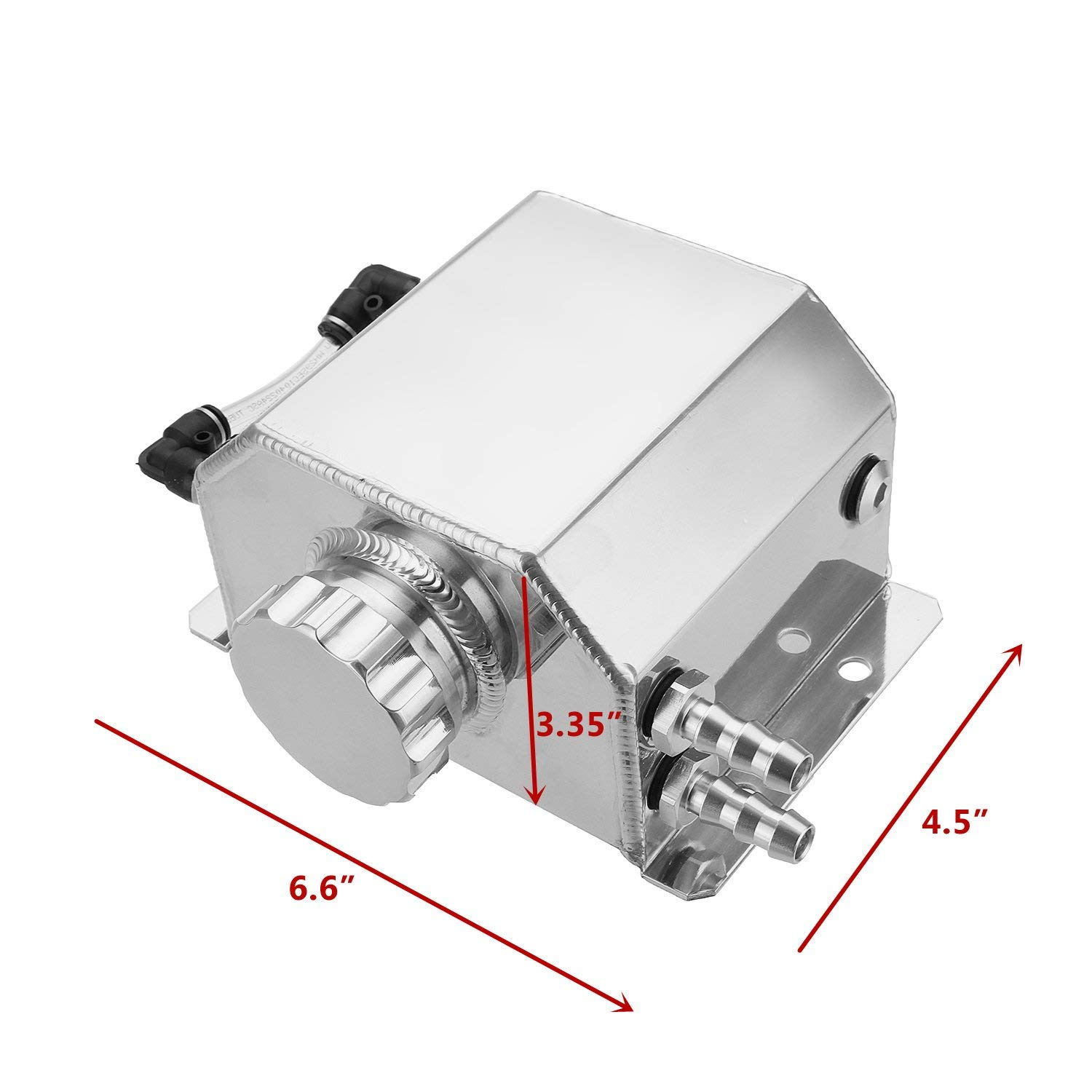 Silver Hwbnde Coolant Overflow Tank Bottle Recovery Reservoir Aluminum JDM Container Universal 1L Water Radiator