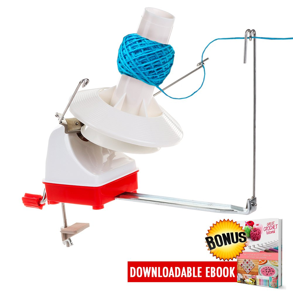 Yarn Ball Winder Effective Jumbo Size Knitting Swift Yarn Winder Hefty Hand Operated for Your Yarn Storage Sewing Knitting and Crocheting Needs | Tangle-Free | 7-Ounce, with Crochet Tips Ebook On Yarn Ball Winder
