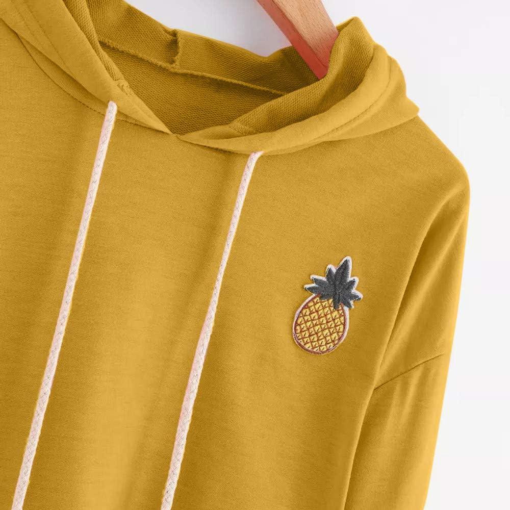 Cathalem Women Teen Girls Cute Pineapple Appliques Long Sleeve Hoodies Pullover Crop Top Sweatshirt Blouse