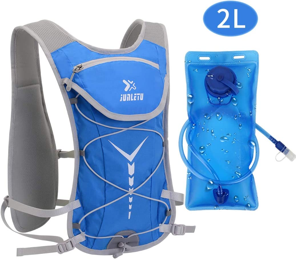 Geila Hydration Backpack with 2L Water Bladder 68 Ounce , BPA-Free Lightweight Hydration Pack for Outdoor Hiking Running Cycling Camping Climbing Skiing Hunting Perfect for Men Women Kids