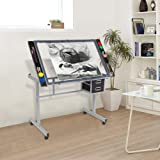 Bonnlo Glass Top Drafting Table, Professional