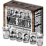 Mug Shots - 6 Piece Shot Glass Set of Famous Gangster Mugshots - Comes in a Colorful Gift Box