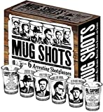 Mug Shots - 6 Piece Shot Glass Set of Famous Gangster Mugshots - Comes in a Colorful Gift Box ()