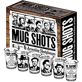 Mug Shots – 6 Piece Shot Glass Set of Famous Gangster Mugshots – Comes in a Colorful Gift Box