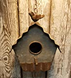 Rustic Industrial Look Galvanized Corrugated Metal 9'' Hanging Birdhouse Bird House All Metal