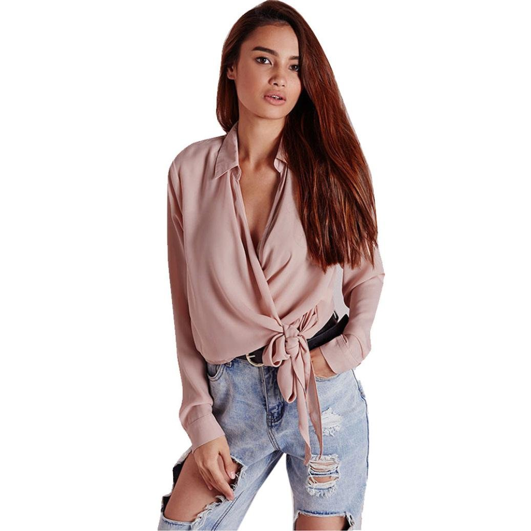 Gotd Women Long Sleeve V-neck Tops T Shirt Loose Casual Blouse Solid (S, Pink)