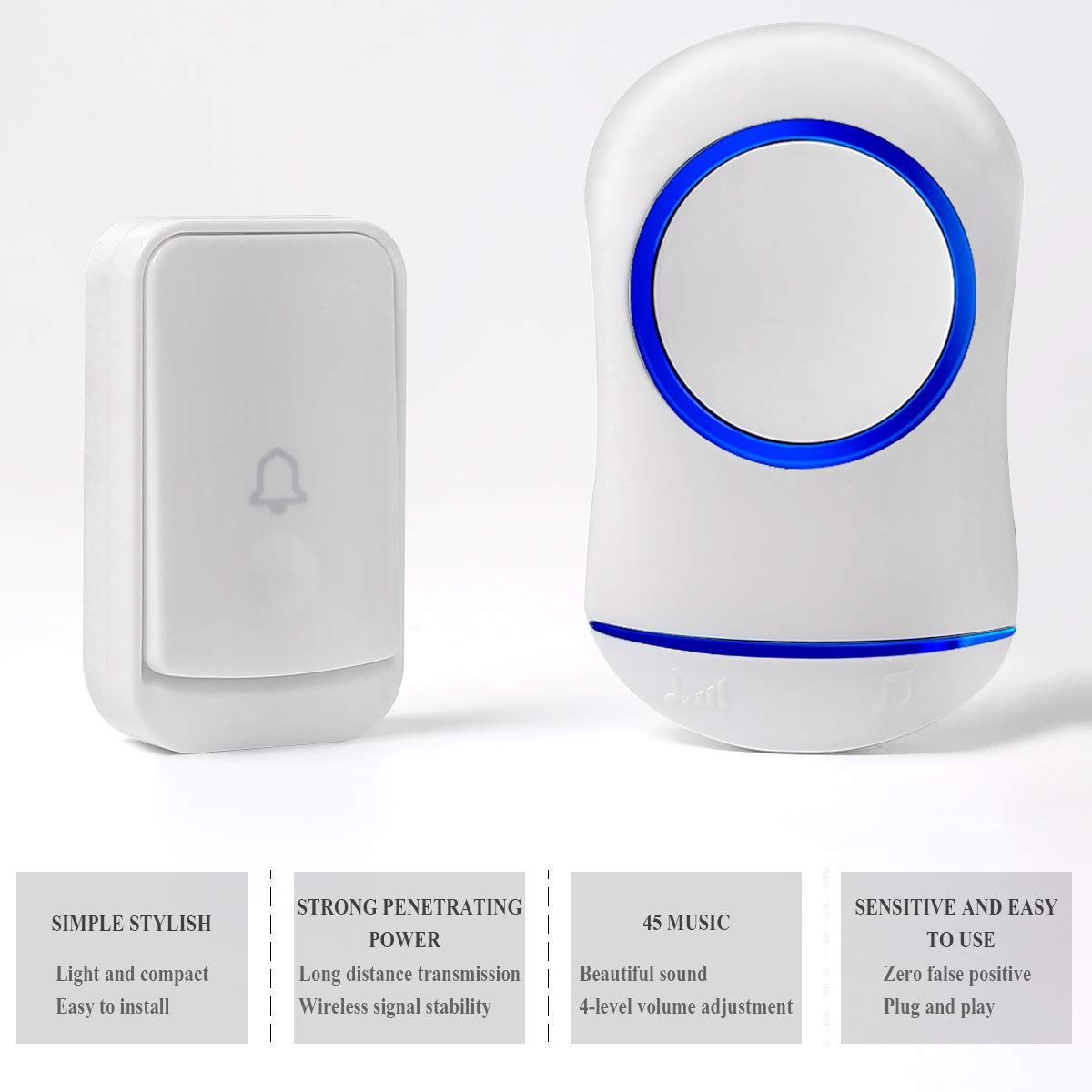 YiGooood Plug-in Push Button with 45 Chimes Work Over 656 feet 200m Electronic Remote Home Wireless Doorbell 4-Level Adjustable Volume Range