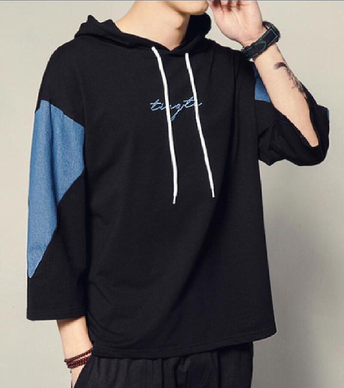 Gocgt Mens Color Block Short Sleeve Drawstring Hoodies T-Shirts
