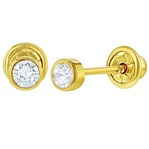 1d98786ea Image Unavailable. Image not available for. Color: 14k Yellow Gold Tiny  Bezel Clear CZ Screw Back Baby Infants Girls Earrings 3mm