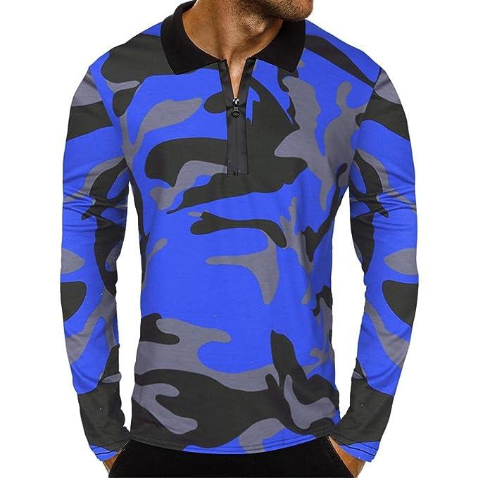 longzjhd Männer Beiläufig Reißverschluss Tarnung Lange Ärmel zur Seite  Fahren Klassisch Hemd Bluse Herren T-Shirt Hoodie Longsleeve Kurzarm Shirt  Sweatshirt ... 646a669af3