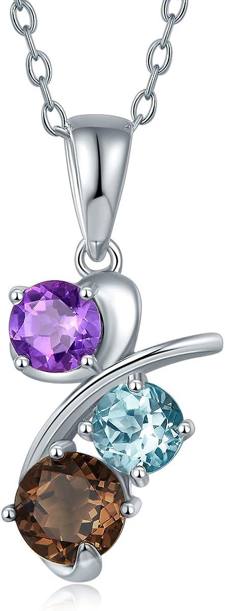 Hutang Natural Multicolor piedras preciosas collar con colgante maciza 925plata de ley amatista topacio azul Classic Fine Jewelry–Pendientes de mujer