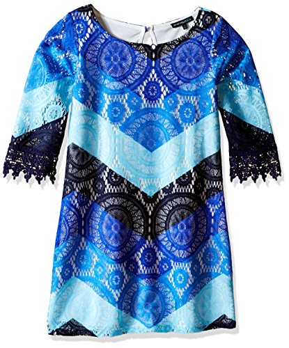 My Michelle Girls' Big Lace Printed Chevron Sheath Dress with Crochet Hem Sleeves, Blue/Multi, - Chevron Lace Crochet