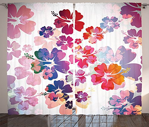 "Ambesonne Hawaiian Curtains, Exotic Floral Island Theme Tropical Hawaii Flowers Pattern Print, Living Room Bedroom Window Drapes 2 Panel Set, 108"" X 84"", Pink Orange"