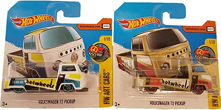 Hot Wheels Pack 2 Volkswagen T2 Pickup Hw Art Cars (Beige & White ...