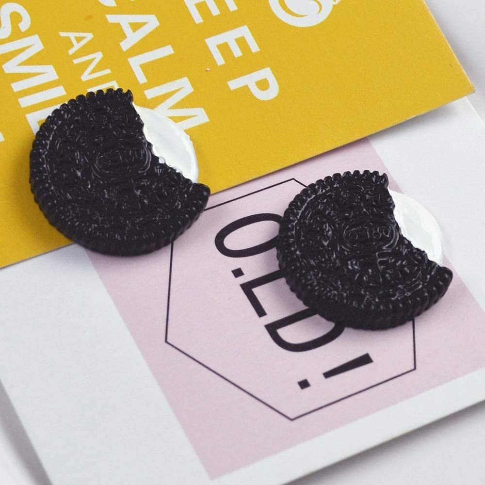 DalaB 10PCS/lot 27mm Resin Oreo Cookies Flatback Cabochon Imitation Food Beads for Art Supply Mobile Decoration Charm Craft