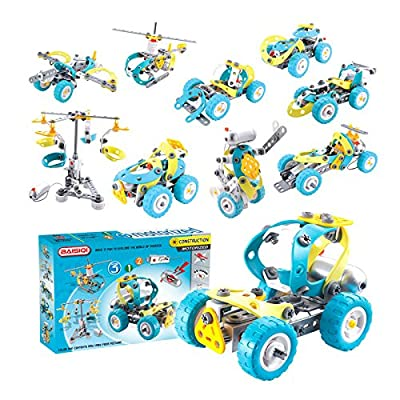 10-in-1 DIY Kit Building Robot Helicopter Construction Truck Mars Space Rover Car Set Electric Motor Included, STEM Educational Toy Child Safe Soft Flexible Interlock Material Set 6844