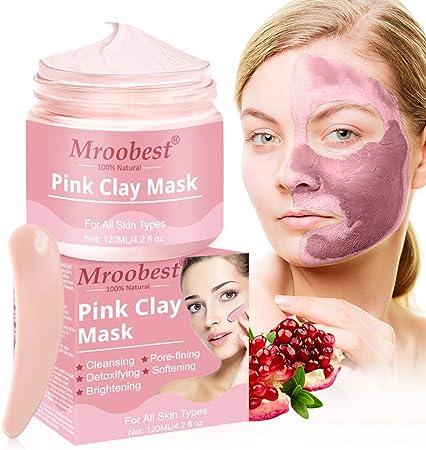Mascarilla de Arcilla Rosa, Mascarilla Exfoliante Facial, Mascarilla facial de hidratante, Pink Clay Mask, Mascarilla Purificante, Desintoxicación, limpieza profunda y refinación de poros