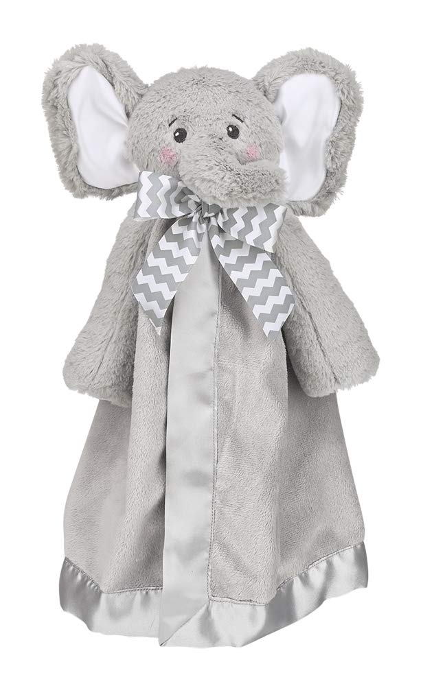 Bearington Baby Lil' Spout Snuggler, Gray Elephant Security Blanket, 15 inches by Bearington Collection