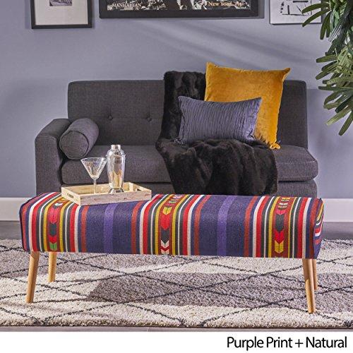 Christopher Knight Home 304459 Sade Mid Century Boho Fabric Ottoman, Purple Print,