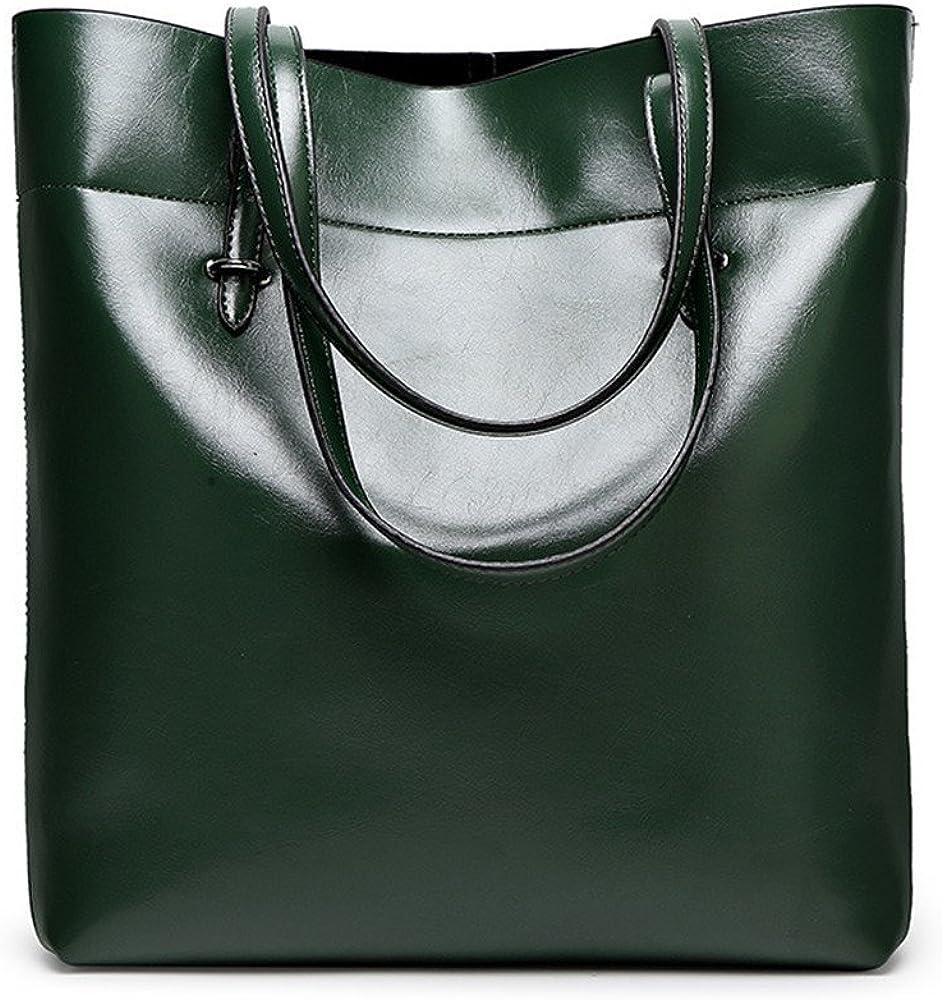 GWQGZ The New Oil Wax Leather Handbags Light Bread Bulk All-Match Bangalor Green