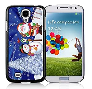 Samsung S4 Case,Christmas Snowman With Santa Claus Black Silicone Phone Case Fit Samsung Galaxy S4 Case,Galaxy S4 I
