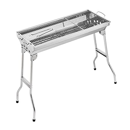 eyepower folding Barbecue Arkansas 30x30cm charcoal Grill compact portable BBQ to cook outdoors over hot coals Stainless Steel