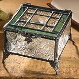J. Devlin Glass Art Box 354 Green Vintage Stained Glass Jewelry Keepsake Box