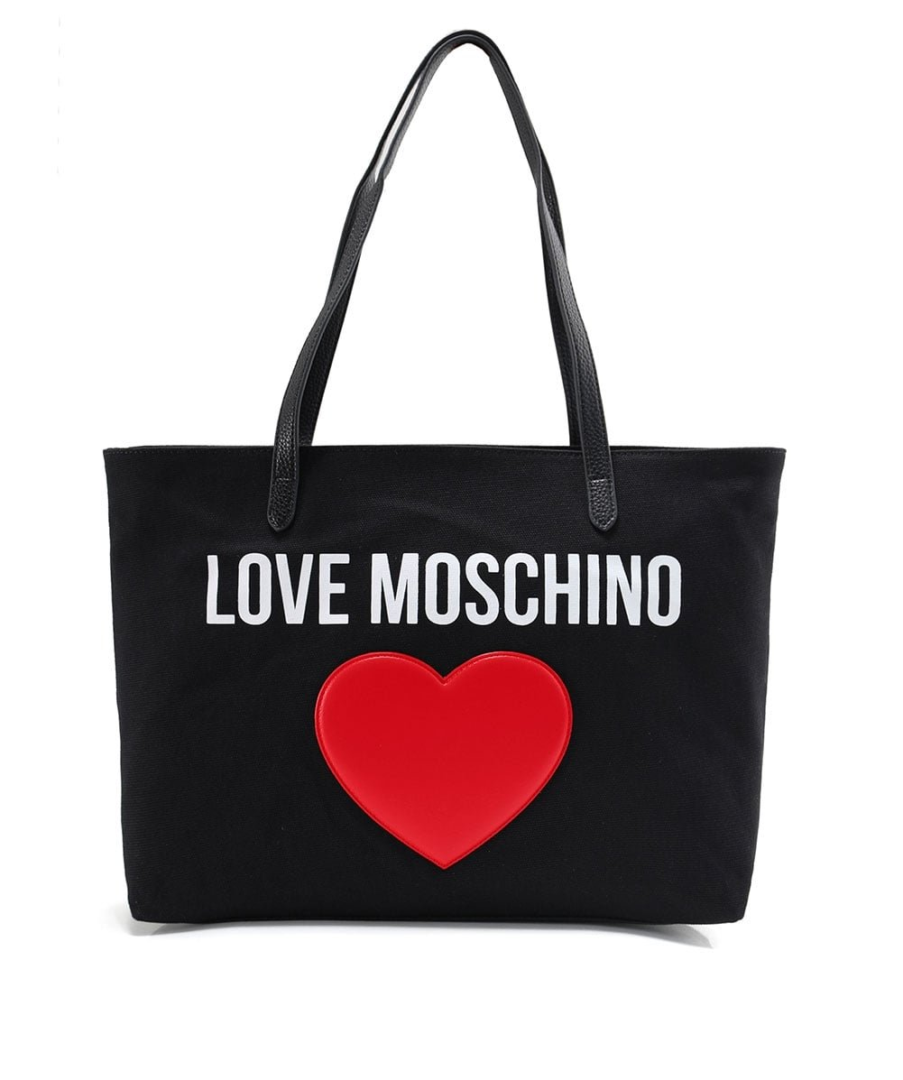 Love Moschino Women's Canvas Logo Shopper Bag Black One Size by Love Moschino (Image #1)