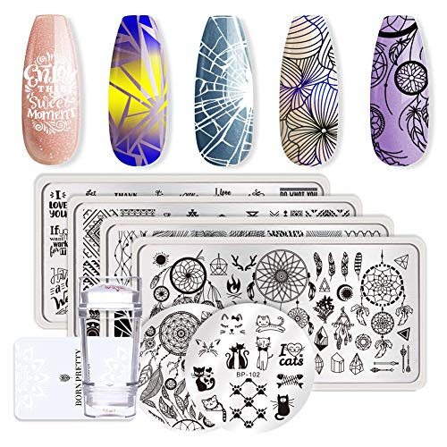 Pretty Halloween Nails (Born Pretty 6Pcs Nail Art Stamping Plates Set Valentine's Day Dream-Catcher manicuring Print Tool with 1Pc Jelly Stamper and)