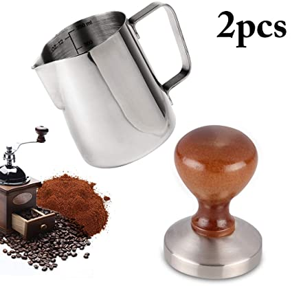 Outgeek Coffee Tamper 58mm Stainless Steel Espresso Tamper with 12oz Frothing Pither
