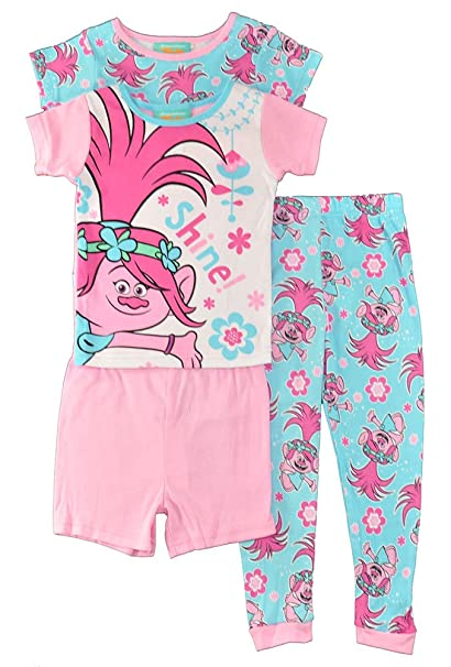 2e1a5441b94c Amazon.com  Trolls Toddler Girls 4 pc Pajama Set Sleepwear - Have A ...