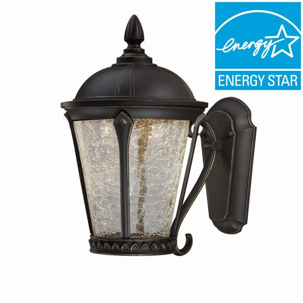 Outdoor Aged Bronze Patina LED Wall Lantern by Home Decorators Collection