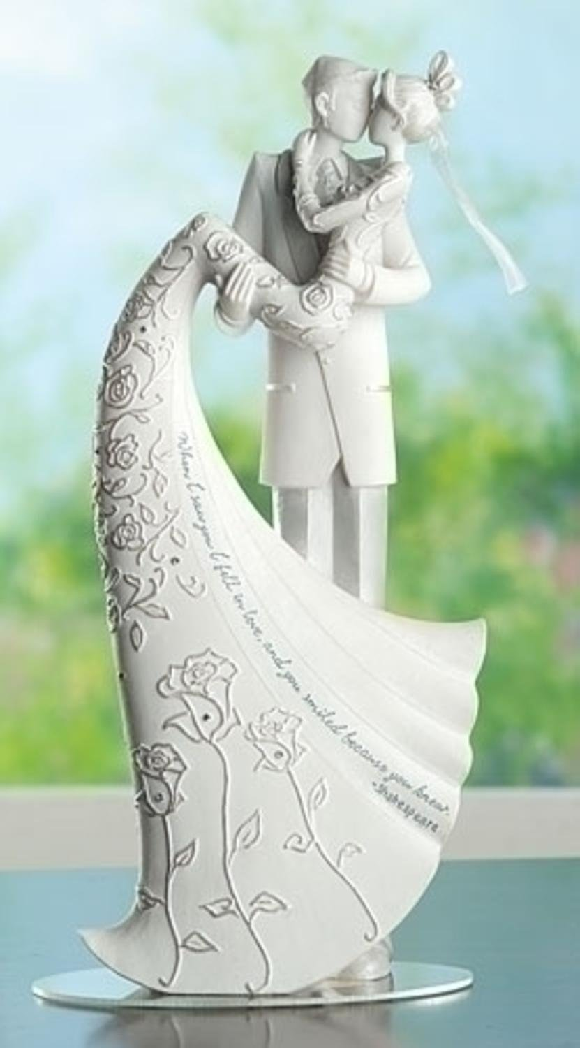 Pack of 2 Language of Love The Kiss Wedding Cake Topper Husband and Wife Figures