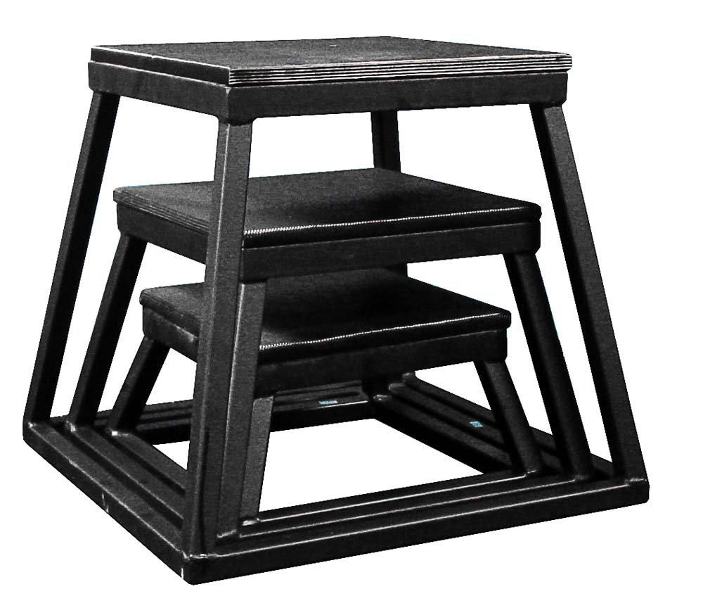 Plyometric Platform Box Set- 6'', 12'', 18'' Black by Ader Sporting Goods