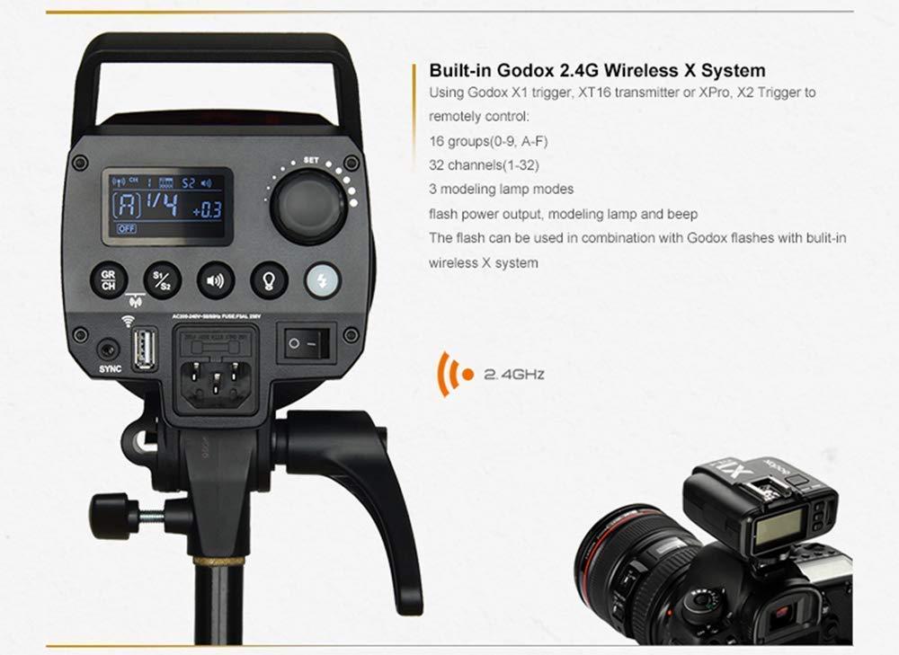 L/ég/ère Compacte et Durable,Temps de Recyclage de 0.1 /à 1.8s,avec 150W Modeling Lamp pour /Éclairage de Studio de Photographie Godox MS300 300WS Flash de Studio Flash Stroboscopique 2.4G sans Fil