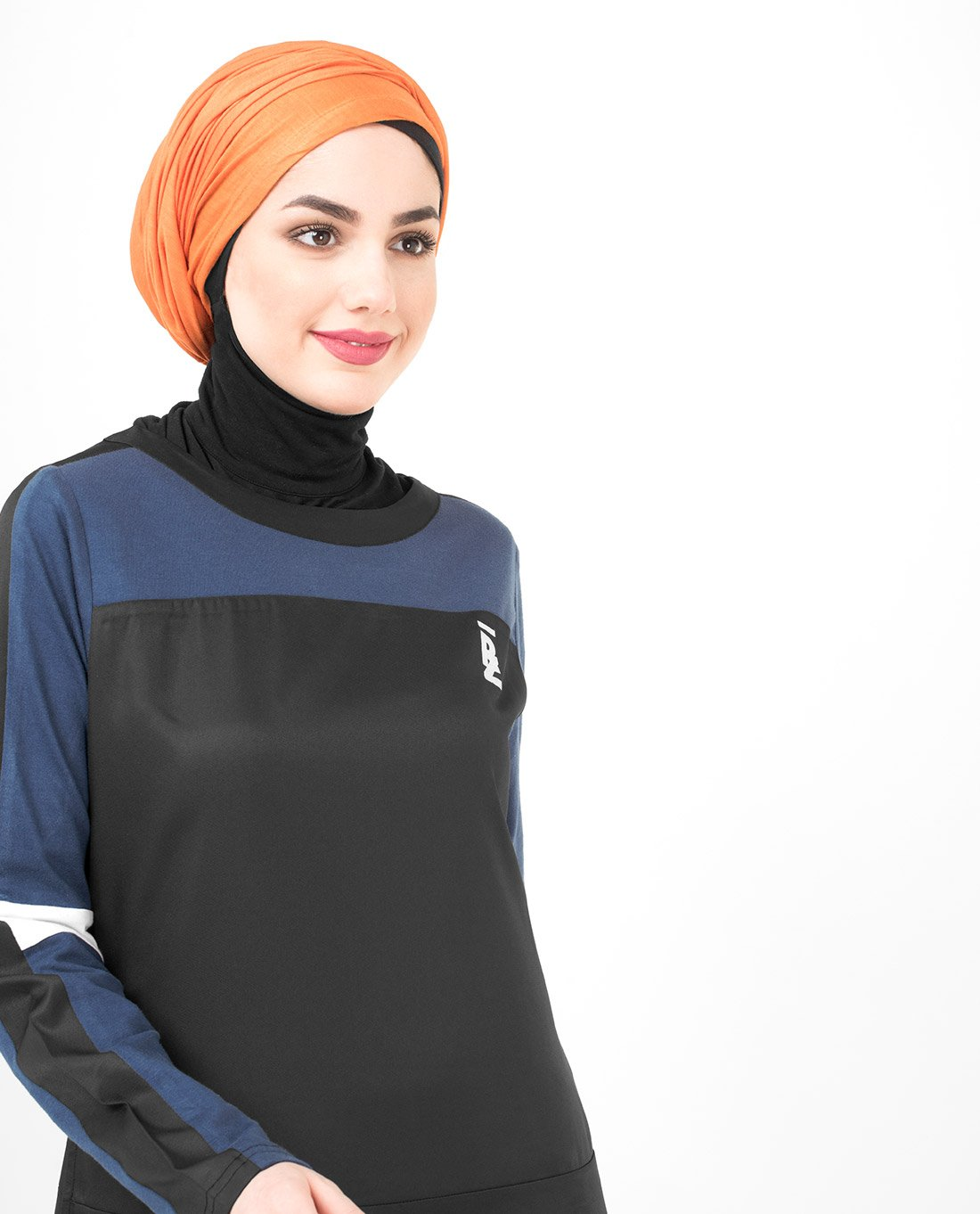 Silk Route Black Navy And White Subtle Curve Polyester Sporty Maxi Dress Jilbab Large 54 by Silk Route (Image #2)