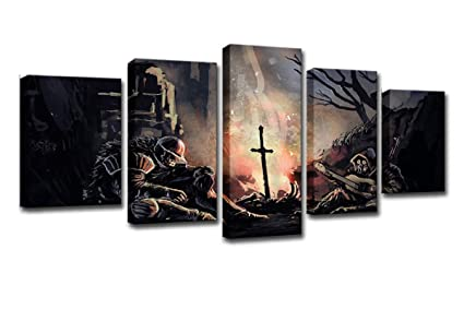 Winsen Wall Art Canvas Painting Frame Living Room Home Decor 5 Pieces Dark Souls Pictures Modern Abstract Soldiers Game Poster