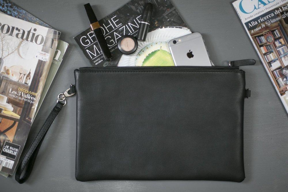 Black leather clutch, zipper clutch bag, iPad mini case, iPad case