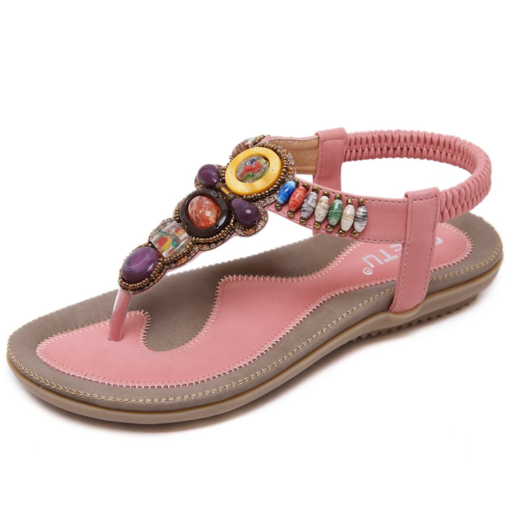 Woky Damen Sommer Sandalen mit Strass Perlen Bohemia Strand Schuhe Freizeit Flach Sandalette Grouml;szlig;e 34-44  42 EU|T-pink