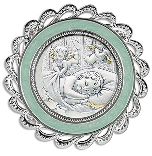 3 Inches Diameter Guardian Angels At Bedside Crib Medal Blue Boys