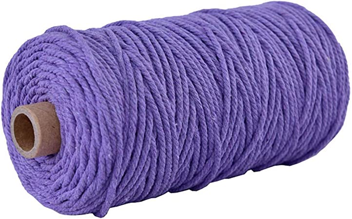 109 Yards Natural Cotton Deep Purple Macrame Rope 3mm Colored Cotton Rope Craft Cord Macrame Cord Bohemian Rope DIY Craft Making Dream Catcher Wall Plant Hanger