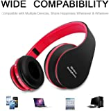 FX-Victoria Over-Ear Headphone On Ear Headphone Stereo Headset Lightweight Design, Compatible with iPods, iPhones, iPads, Smartphones, Tablets, PC and Laptops (8252Red Black)