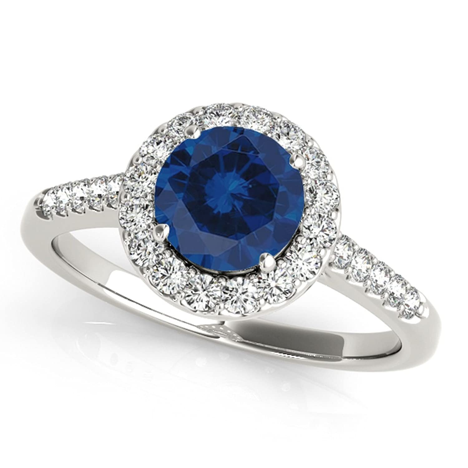 1.40 Ct. Halo Sapphire And Diamond Bridal Set In 14k White Gold