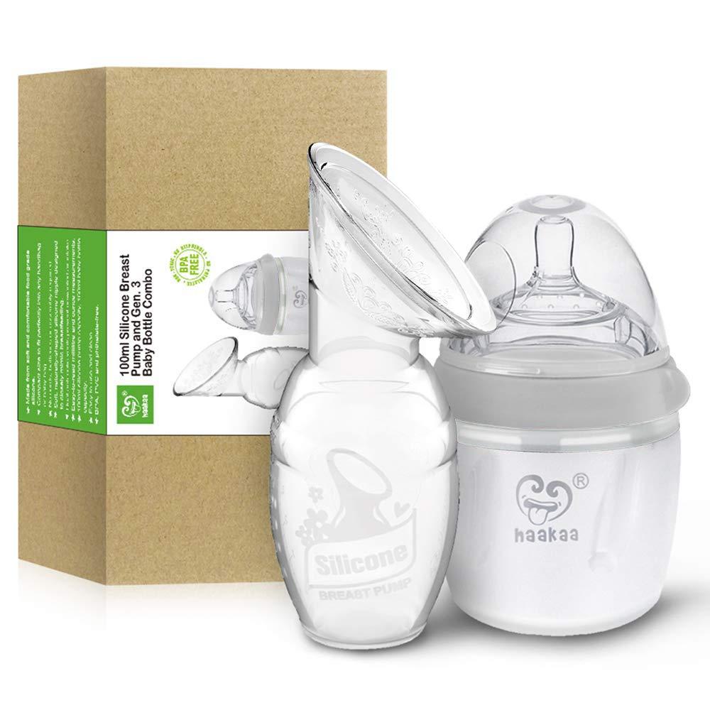 Haakaa Manual Breast Pump with Milk Bottle for Breastfeeding 100% Food Grade Silicone (4oz/100ml Pump + 160ml Milk Bottle)