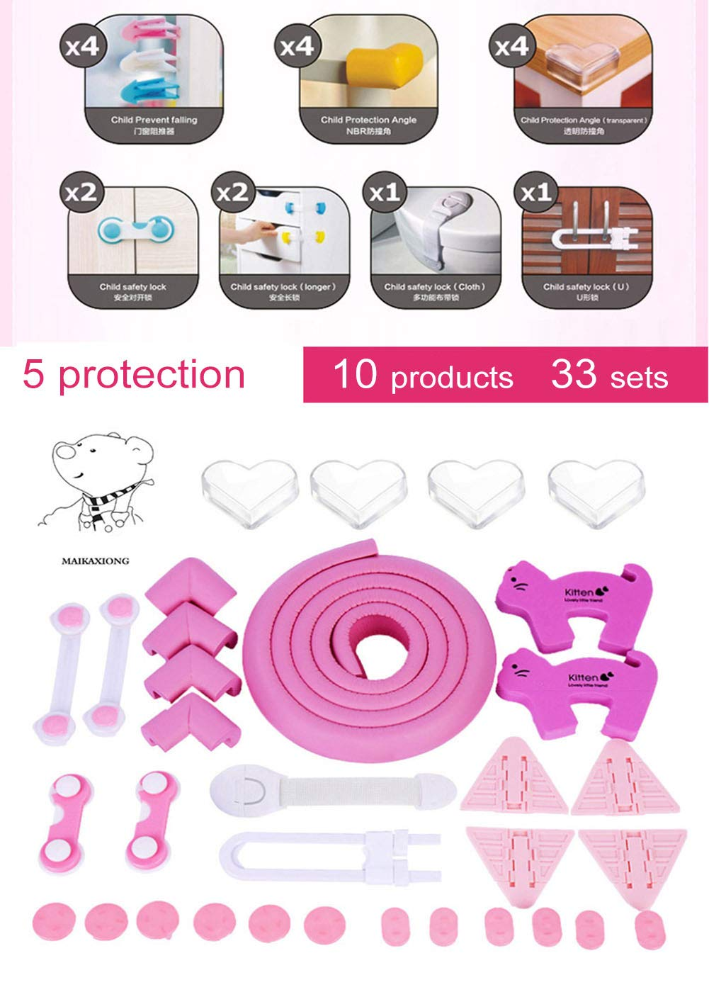 Baby Proofing Set -33 Pcs Child Safety - 6.5Ft Anti-Collision Bar 8 Corners 12 Outlet Covers Security Lock (Pink)