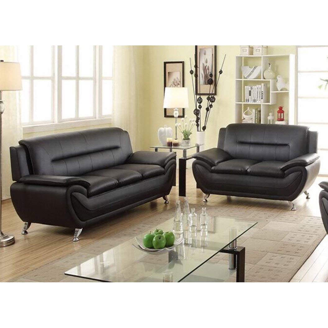 Amazon.com: US Furnishing Express Alice Black Faux Leather 2 ...