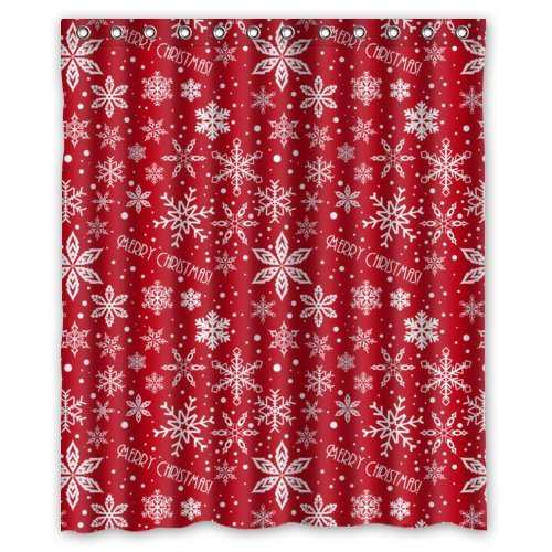 60(w) x 72(h) Cute Christmas Characters Crimson Snowflake Theme Print 100% Polyester Bathroom Shower Curtain Shower Rings Included, Merry Xmas Christmas Eve, Great Decoration for Christmas Holiday Shower Curtain